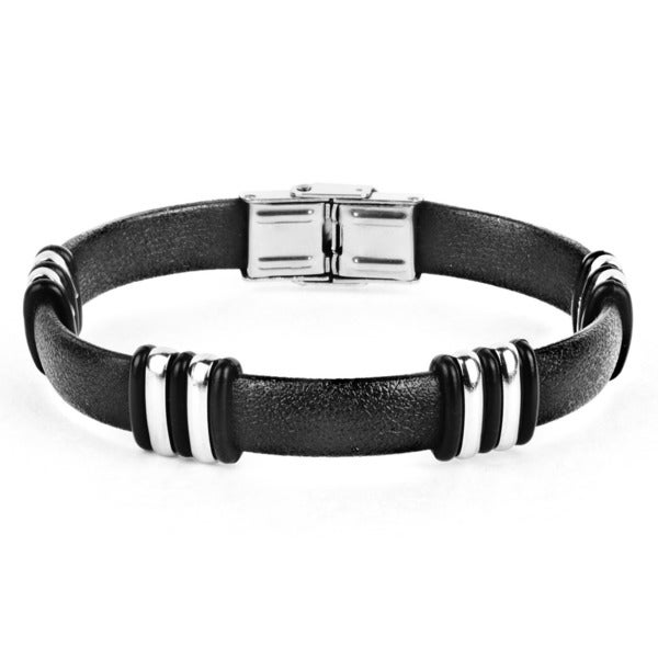 Stainless Steel Striped Rubber Bracelet
