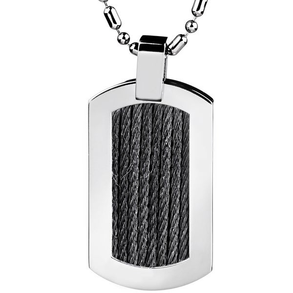 Stainless Steel Black Cable Rope Inlay Dog Tag Pendant Necklace