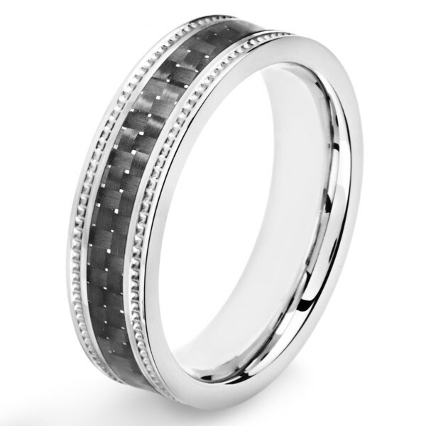 Stainless Steel Black Carbon Fiber Inlay Ridged Edge Ring