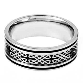 Stainless Steel Black Carbon Fiber Celtic Design Ring
