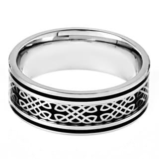 Stainless Steel Black Carbon Fiber Celtic Design Ring