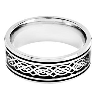 Stainless Steel Black Carbon Fiber Celtic Knot Design Ring