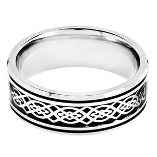 Stainless Steel Black Carbon Fiber Celtic Knot Design Ring