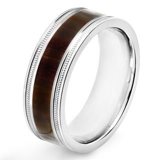 Stainless Steel Dark Wood Inlay Ridged Edge Band Ring