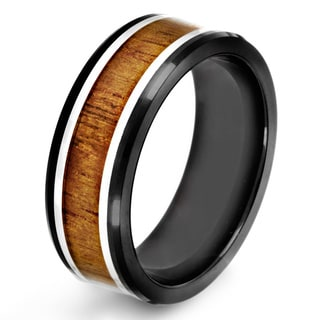Black-plated Stainless Steel Wood Inlay Ring