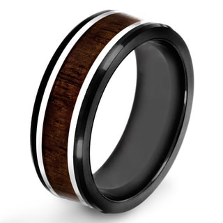 Black-plated Stainless Steel Dark Wood Inlay Ring