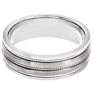 Titanium Milgrain Satin Finish Band Ring