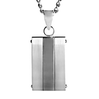 Stainless Steel Brushed and Polished Dog Tag Pendant Necklace