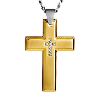 Stainless Steel Cubic Zirconia Inlay Cross Pendant Necklace