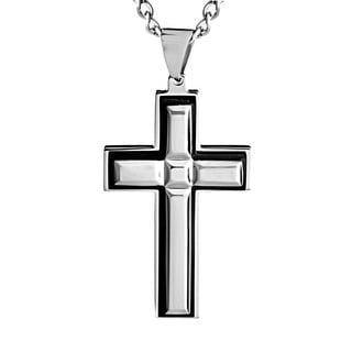 Stainless Steel Brushed Layered Cross Necklace