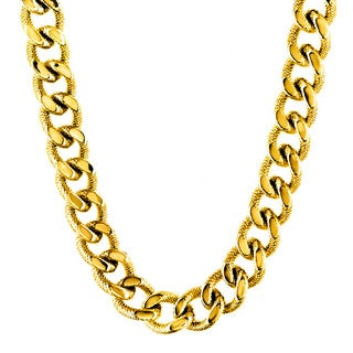 Crucible Goldtone Stainless Steel Curb Chain Necklace