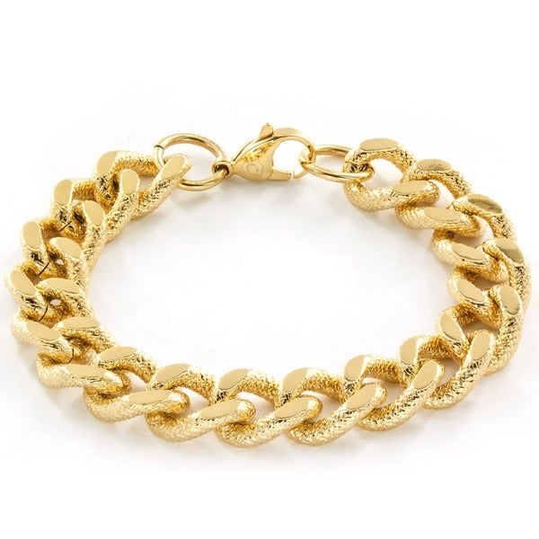 Goldtone Stainless Steel Grooved Curb Chain Bracelet