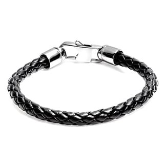 Men's Black Leather and Stainless Steel Braided Bracelet