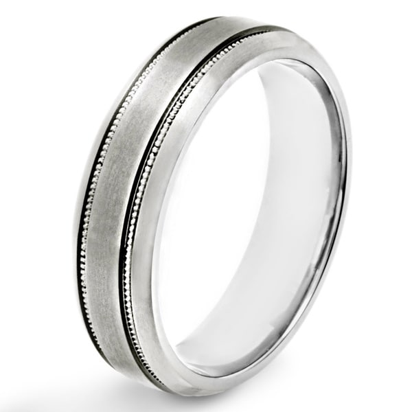 Titanium Brushed Milgrain Band Ring