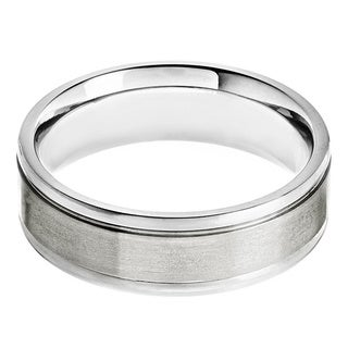 Titanium Brushed and Polished Grooved Ring