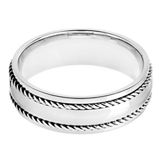 Stainless Steel Rope Detail Band Ring