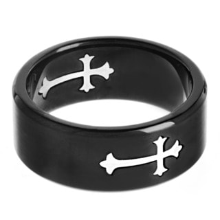 Crucible Stainless Steel Blackplated Brushed Cutout Cross Band Ring