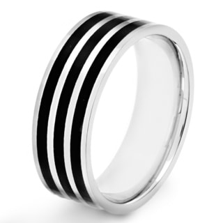 Crucible Stainless Steel Blackplated Stripe Band