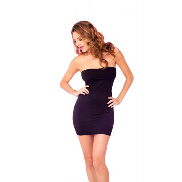 Pink Lipstick Black Seamless Rouched Side Tube Dress