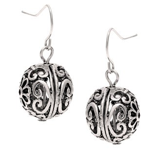 Roman Silvertone Artisan Filigree Ball Dangle Earrings