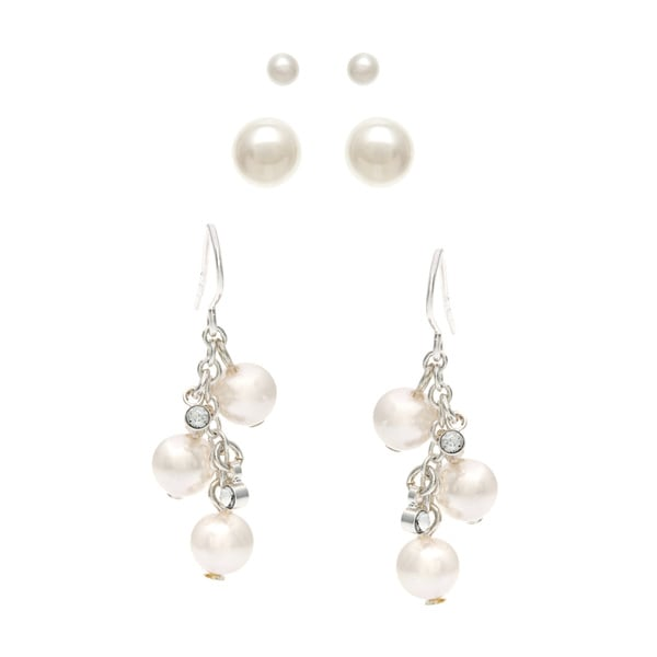 Roman Silver Metal Faux Cream Pearl Dangle and Stud Earrings Trio Set