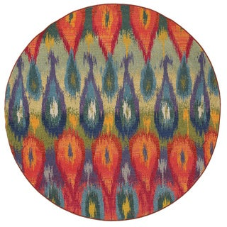 Vibrant Abstract Multi/ Red Polypropylene Rug (7'8 Round)