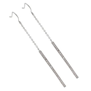 Silvertone Super Long Rectangular Dangle Earrings