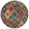 Kaleidoscope Grey/ Multicolored Polypropylene Area Rug (7'8 Round)