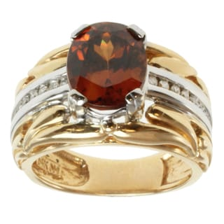 Michael Valitutti 14k Two-tone Gold Cognac Zircon and Diamond Ring