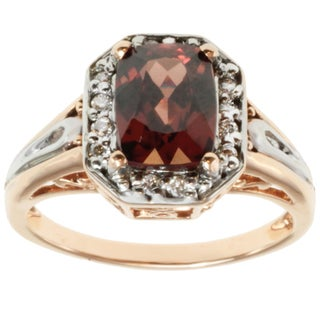 Michael Valitutti 14k Two-tone Gold Garnet and Diamond Ring