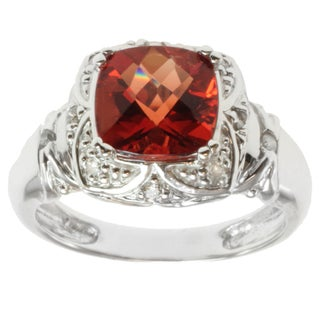Michael Valitutti 14k White Gold Ruby Sunstone and Diamond Ring
