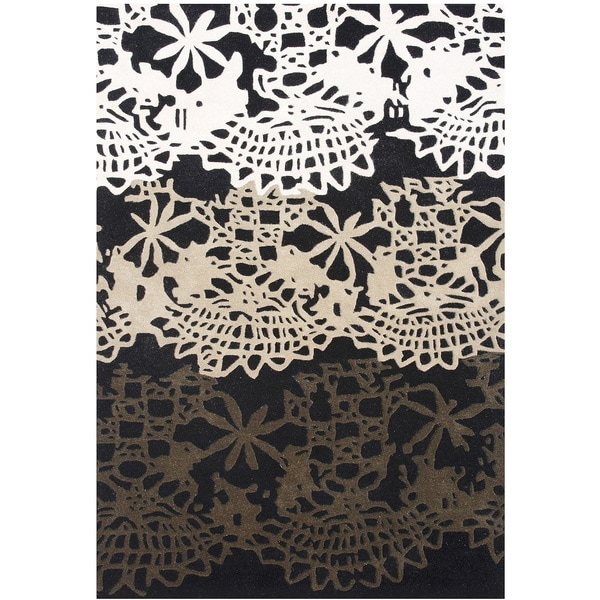 ZnZ Rug Gallery Handmade Black Wool Blend Floral Area Rug (5' x 8')