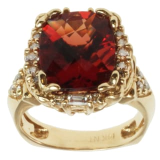 Michael Valitutti 14k Yellow Gold Ruby Sunstone and Baguette-cut Diamond Ring