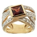 Michael Valitutti 14k Yellow Gold Garnet and Diamond Ring