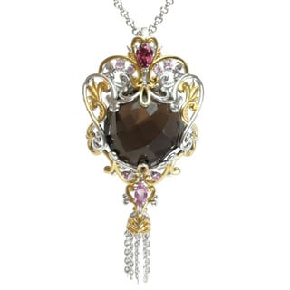 Michael Valitutti Two-tone Smokey Quratz, Rhodolite and Pink Sapphire Necklace