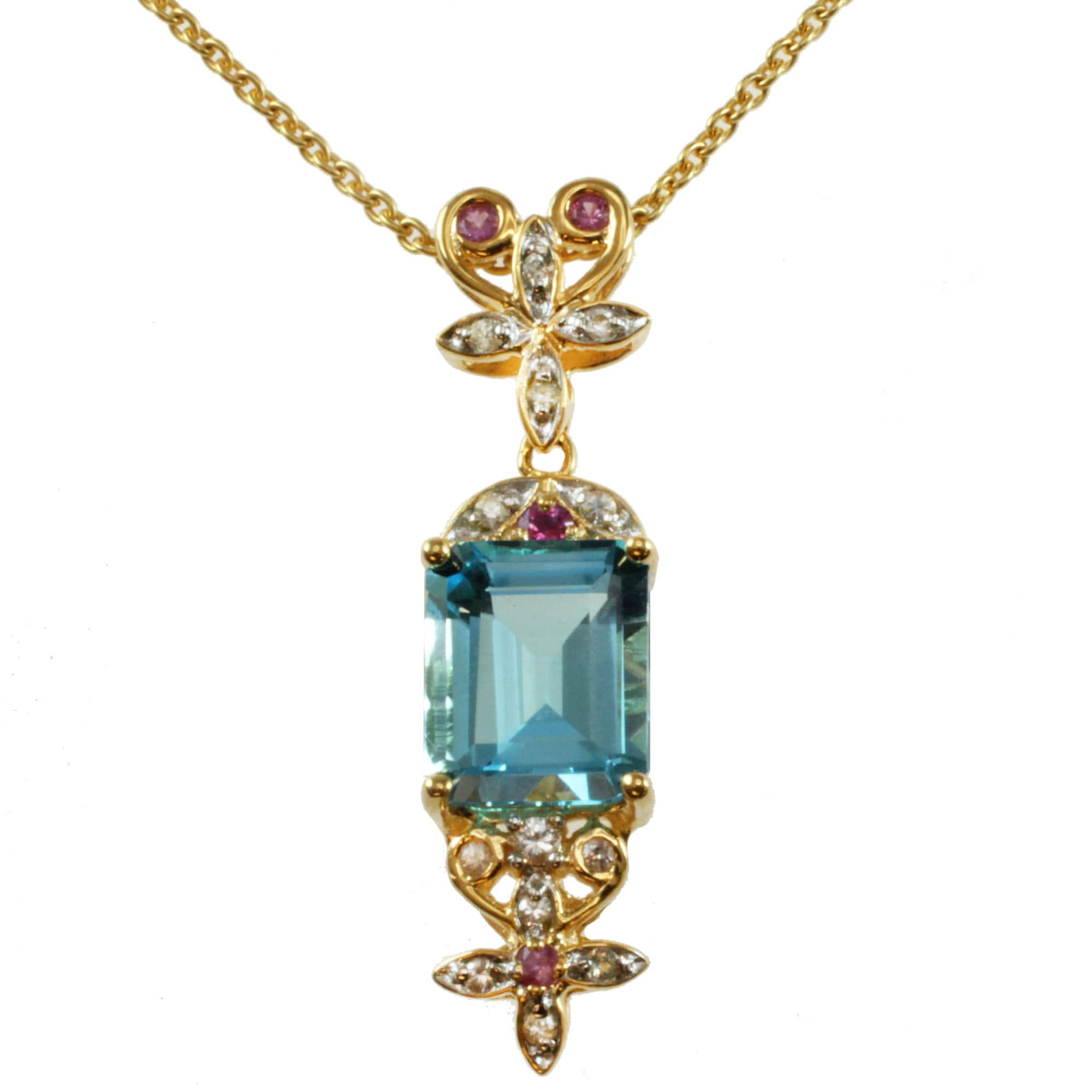 Michael Valitutti Blue Topaz or Citrine, Pink and White Sapphire Necklace