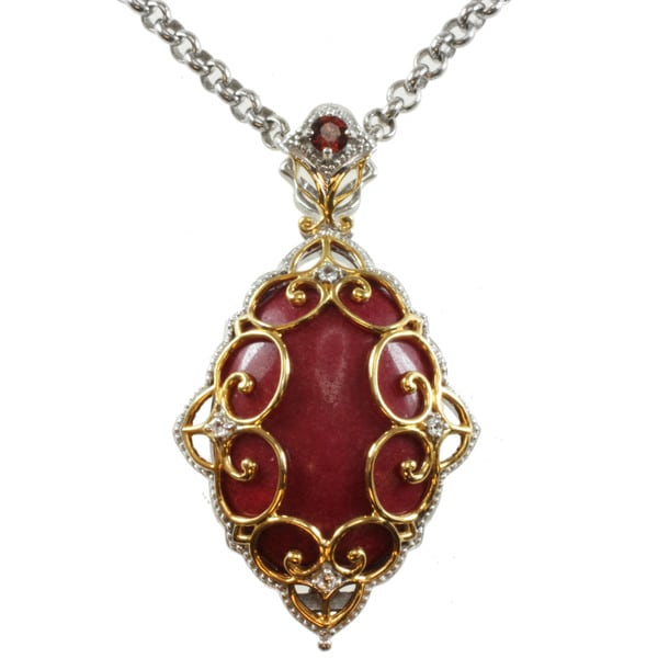 Michael Valitutt Two-tone Red or Green Jade and Garnet or Peridot and White Sapphire Necklace