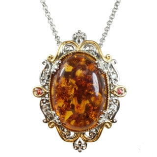Michael Valitutti Two-tone Amber, Orange and White Sapphire  Necklace