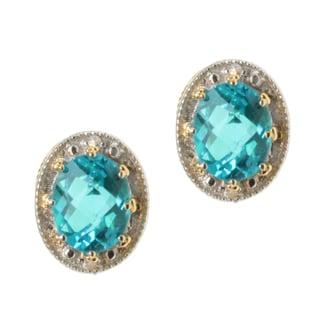Michael Valitutti Two-tone Paraiba Topaz and White Sapphire Earrings