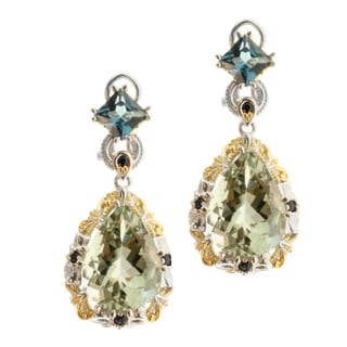Michael Valitutti Two-tone Green Amethyst and London Blue Topaz Earrings
