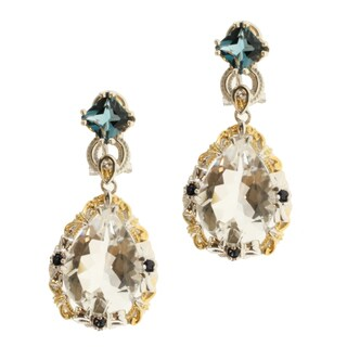 Michael Valitutti Two-tone Rock Crystal and London Blue Topaz Earrings