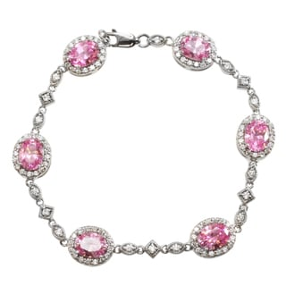 Michael Valitutti Signity Sterling Silver Pink and White Cubic Zirconia Bracelet