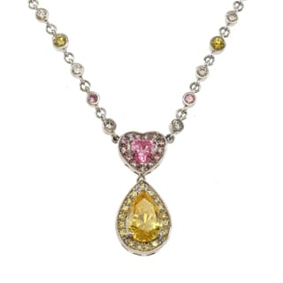 Michael Valitutti Signity Sterling Silver Yellow, Pink and White Cubic Zirconia Necklace