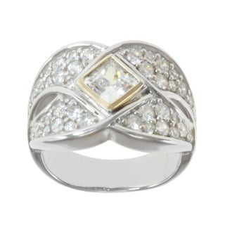 Michael Valitutti Sterling Silver and 14K Yellow Gold Princess-cut Cubic Zirconia Ring