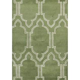 ZnZ Rug Gallery Handmade Bronze Green Wool Blend Area Rug (5' x 8')