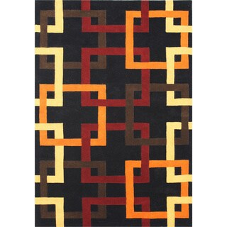 ZnZ Rug Gallery Handmade Black Wool Blend Area Rug (8' x 10')