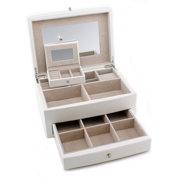 Heiden Abigail White Leather Jewelry Box