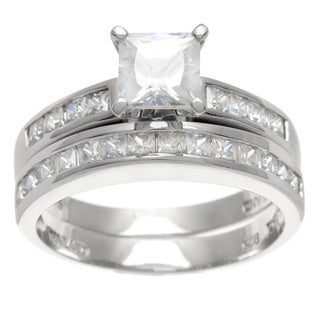 La Preciosa Sterling Silver Princess-cut CZ Bridal-style Ring Set