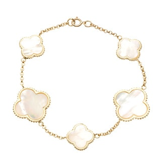 La Preciosa Gold over Silver Mother of Pearl Clover Bracelet