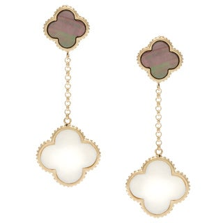 La Preciosa Gold over Silver Mother of Pearl and Abalone Clover Earrings